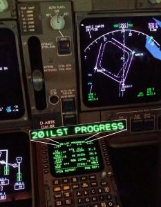Der nach uns benannte Flugplan im FMS der Boeing 747