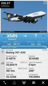 Der Flugfortschritt in der flightradar24-App